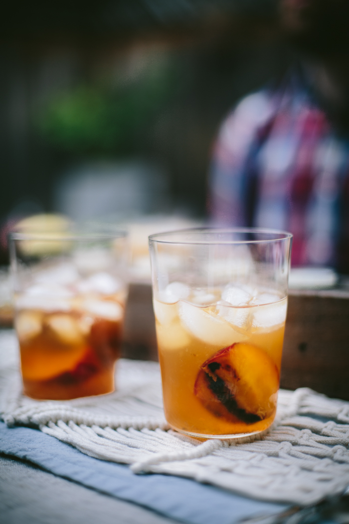 Grilled Peach Spiked Iced Tea by Eva Kosmas Flores | Adventures in Cooking