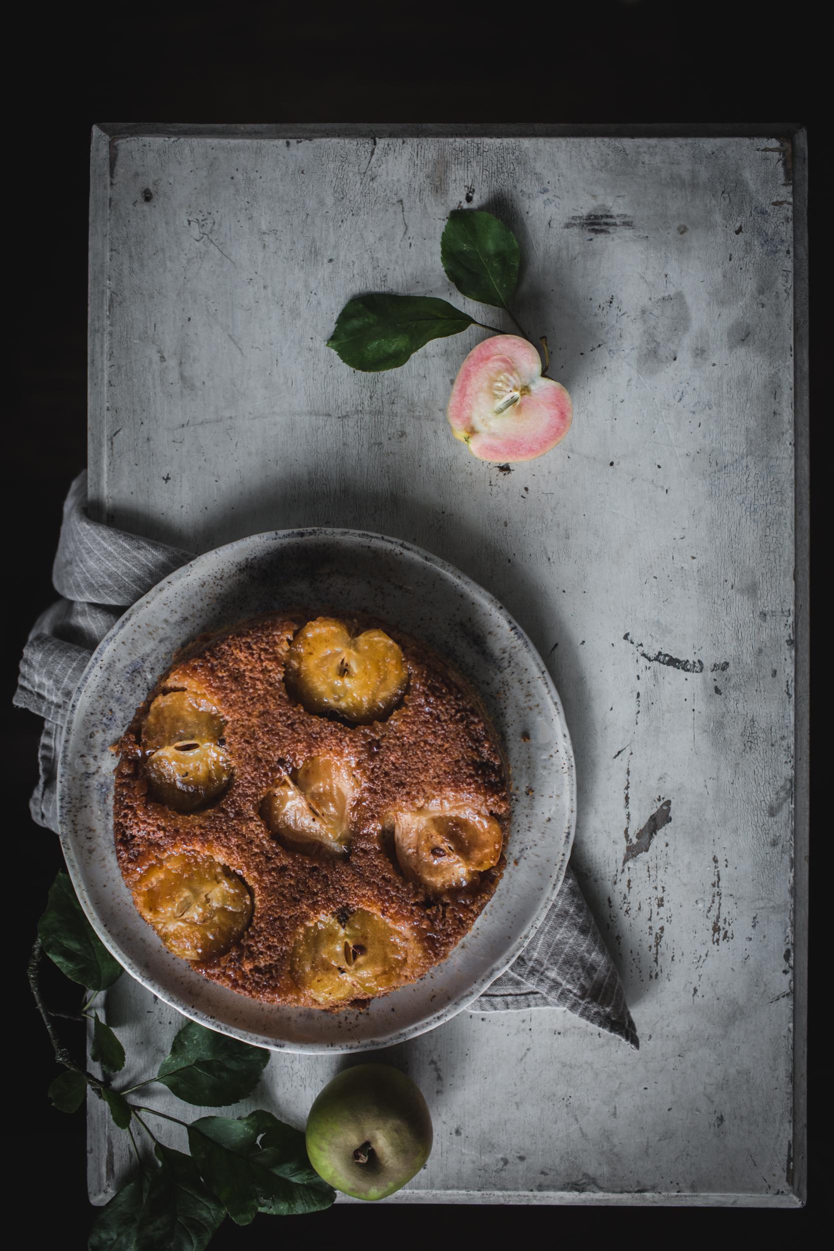 Caramel Apple Upside Down Cake by Eva Kosmas Flores | Adventures in Cooking