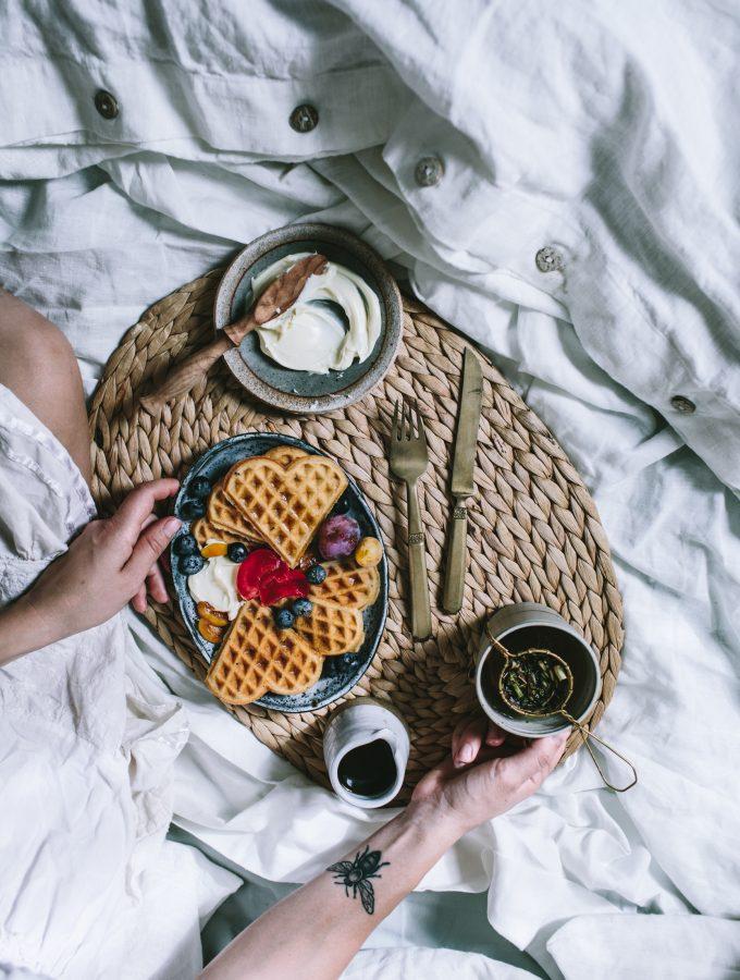 Plum Waffles + How To Make A Crispy Waffle