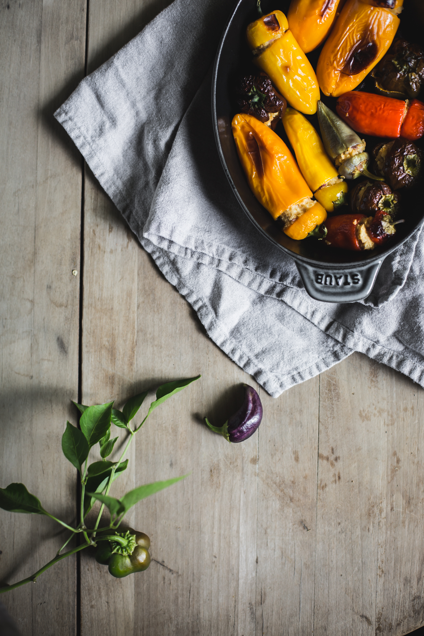 Chevre Stuffed Sweet Peppers by Eva Kosmas Flores | Adventures in Cooking