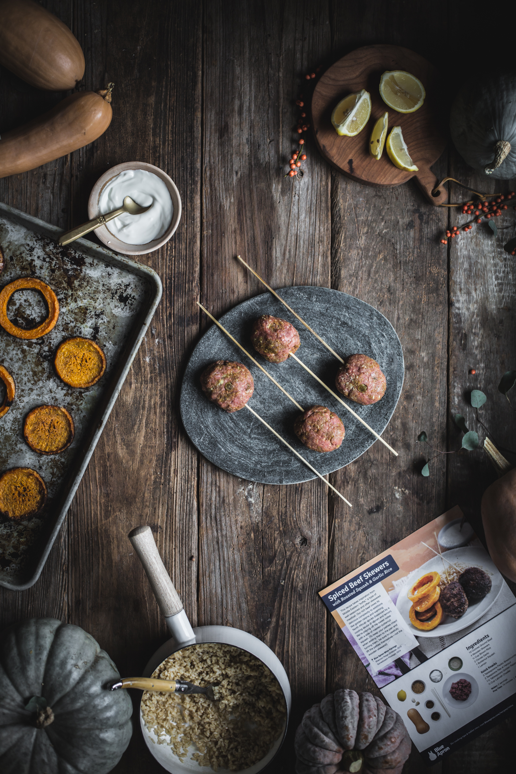 Spiced Beef Skewers with Roasted Squash & Garlic Rice by Eva Kosmas Flores | Adventures in Cooking