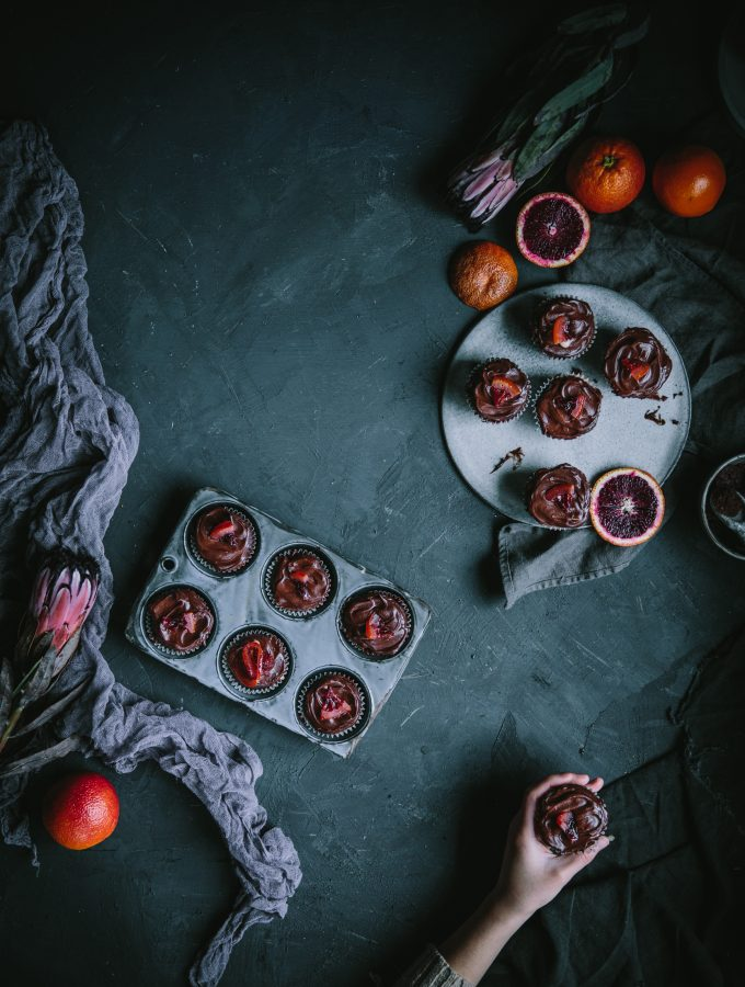 Blood Orange Chocolate Cupcakes