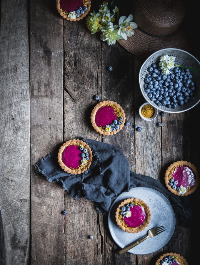 Blueberry Lemon Olive Oil Curd Tartlettes