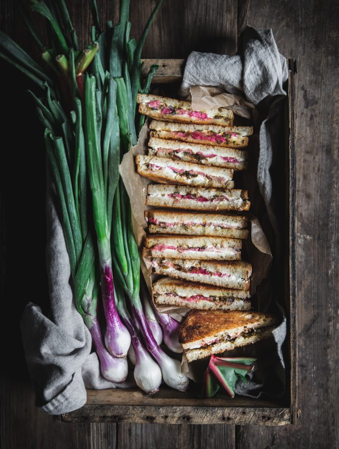 Rhubarb, Chèvre and Caramelized Spring Onion Grilled Cheese