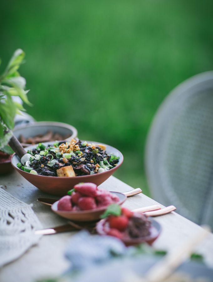 Black Pearl Rice Stir Fry with Miso, Mushrooms and Crispy Tofu
