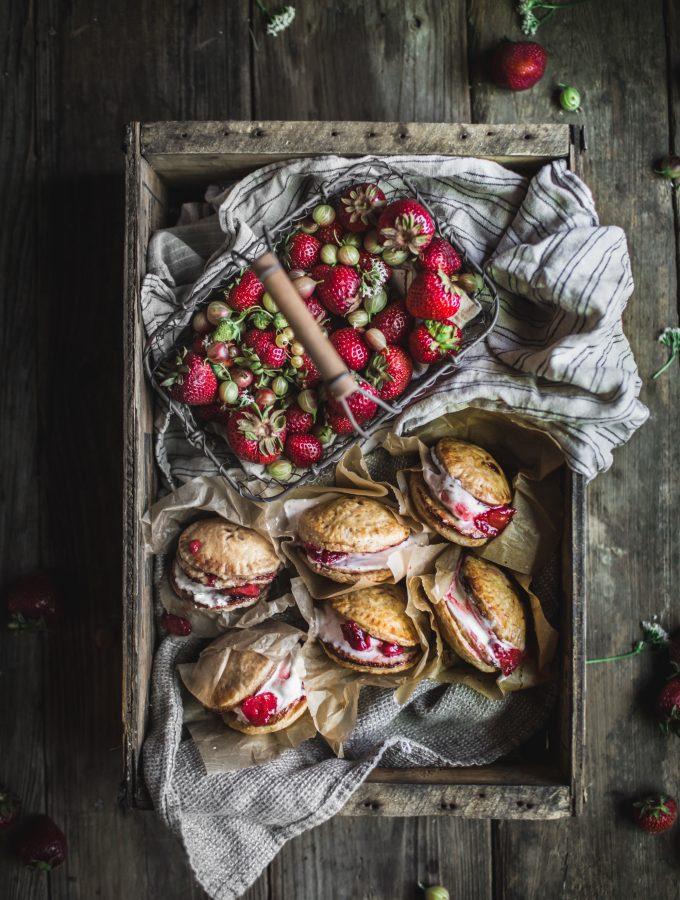Strawberry Rhubarb Pie Ice Cream Sandwiches