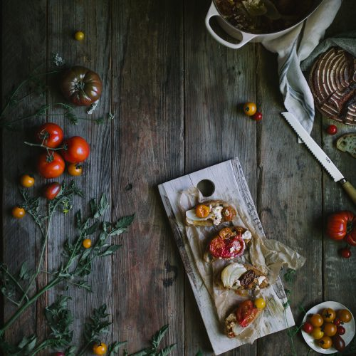 An easy summer recipe for One-Pot Tomato Chevre Confit by Eva Kosmas Flores