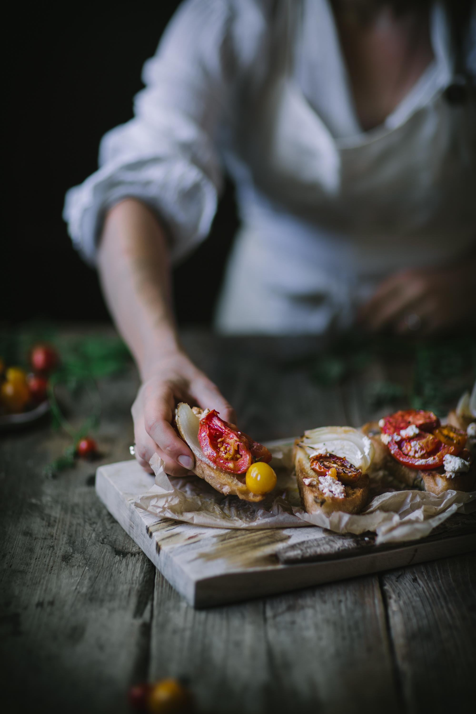 An easy summer recipe for One-Pot Tomato Chevre Confit by Eva Kosmas Flores