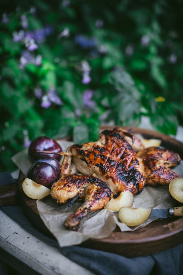 Plum Barbecue Spatchcock Chicken recipe plus a how to video