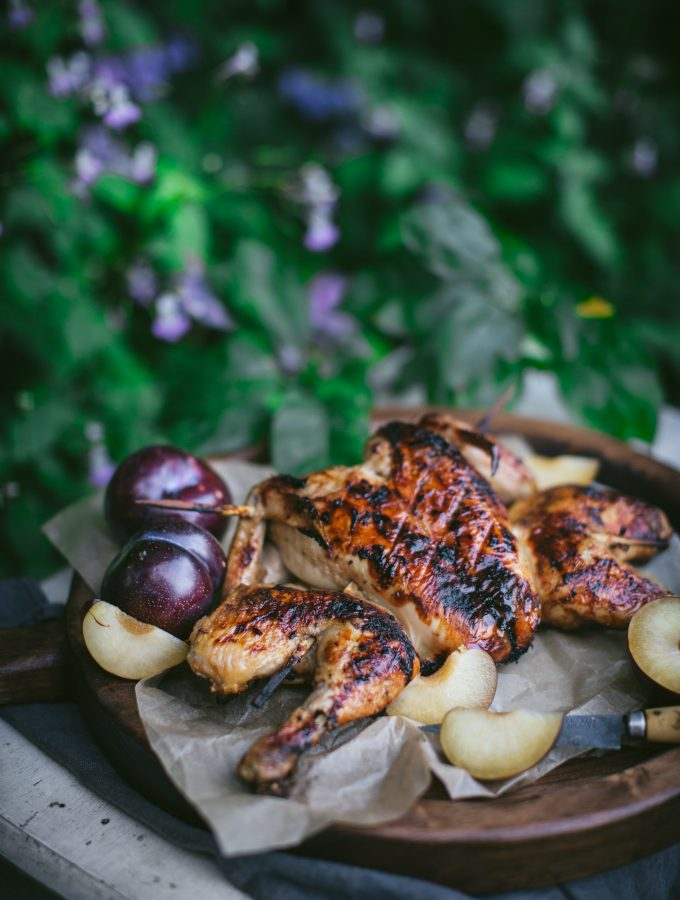 Barbecue Plum Spatchcock Chicken + A How To Video