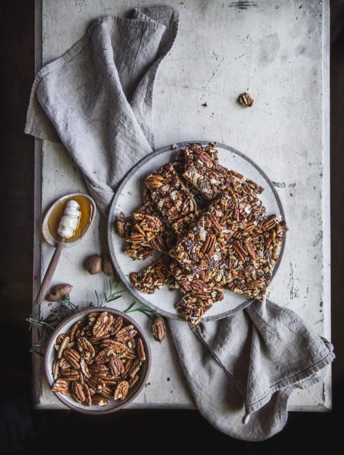 Savory Pecan + Rosemary Granola Bars