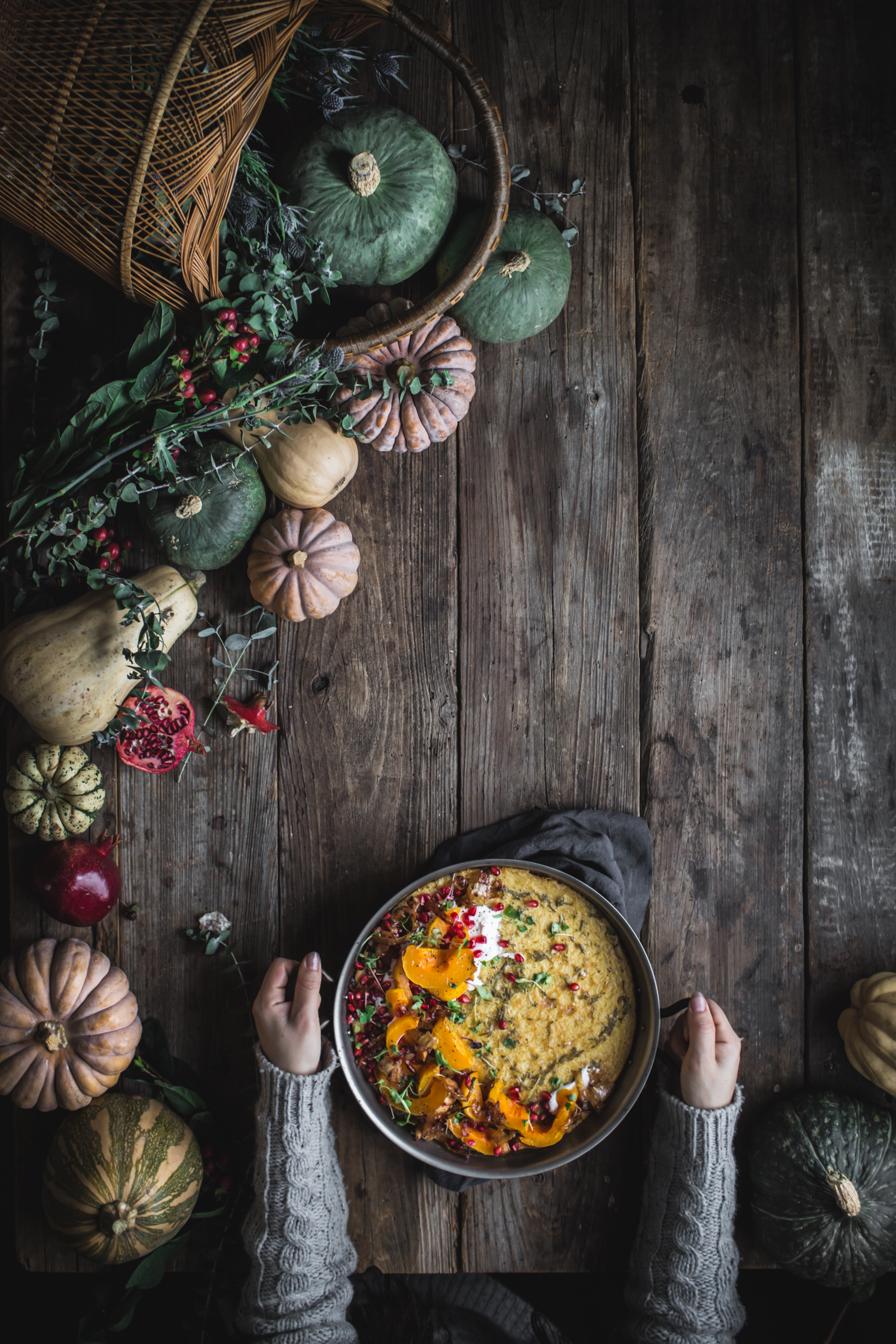 Savory Gluten Free Farinata Winter Squash Pancake with Caramelized Onions Greek Yogurt and Pomegranate Seeds by Eva Kosmas Flores