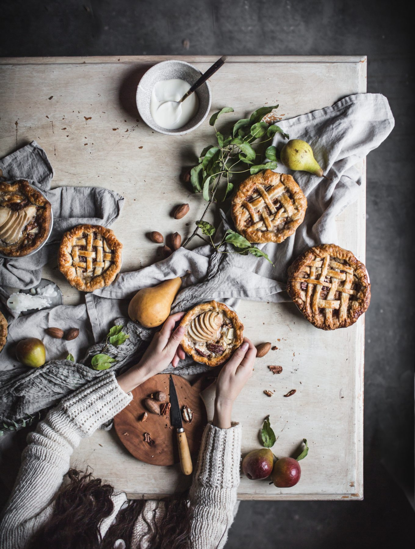 Pear Pecan and Creme Fraiche Mini Pies