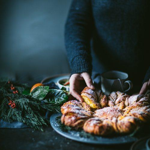 How to make saffron star bread pastry holiday dessert recipe video