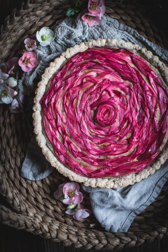 rhubarb, vegan, almond, cashew, custard, dessert, spring, recipe, braided, ribboned, how to, video