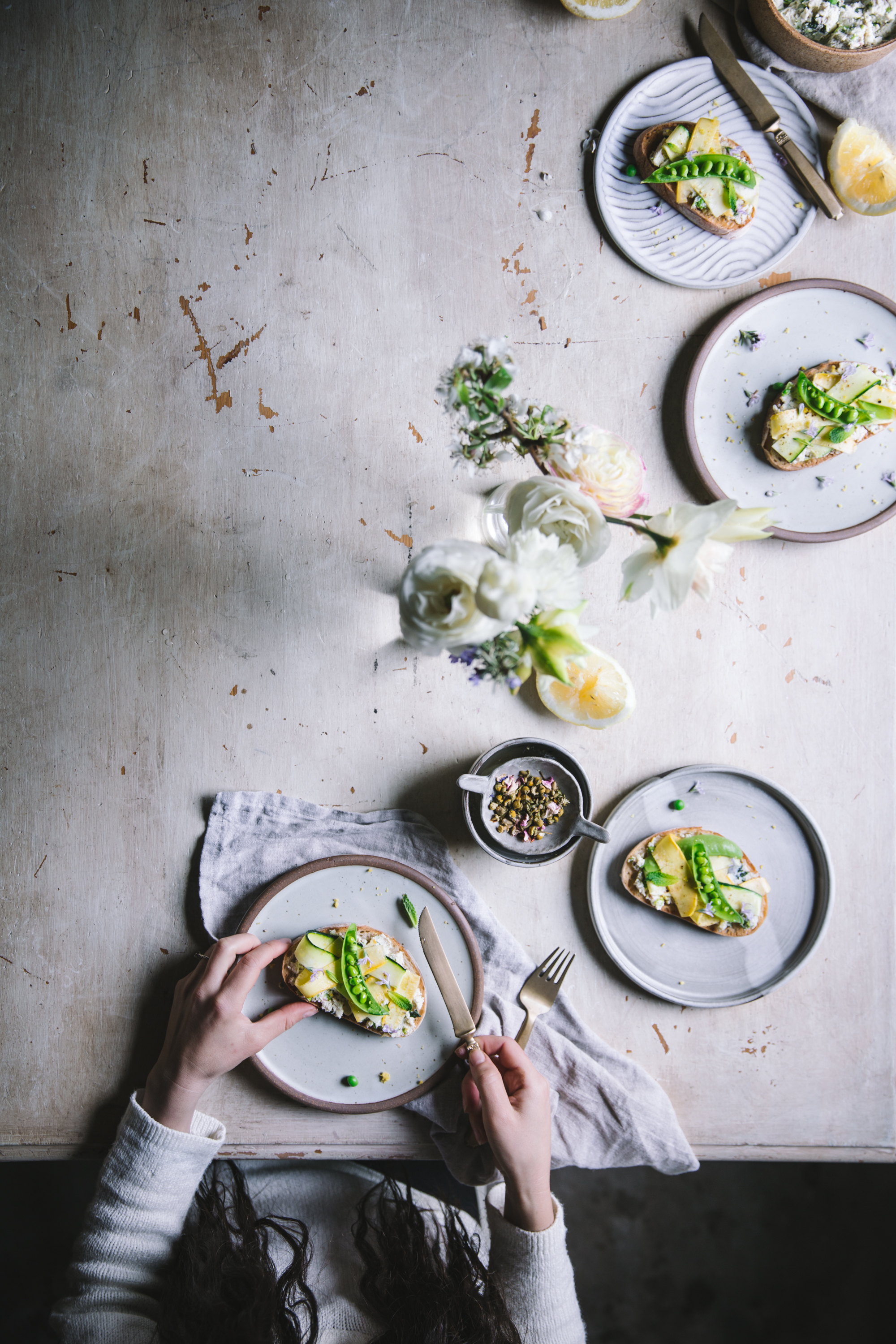 Mint and pea ricotta toasts for an easy healthy spring breakfast from the Wicked Healthy Cookbook
