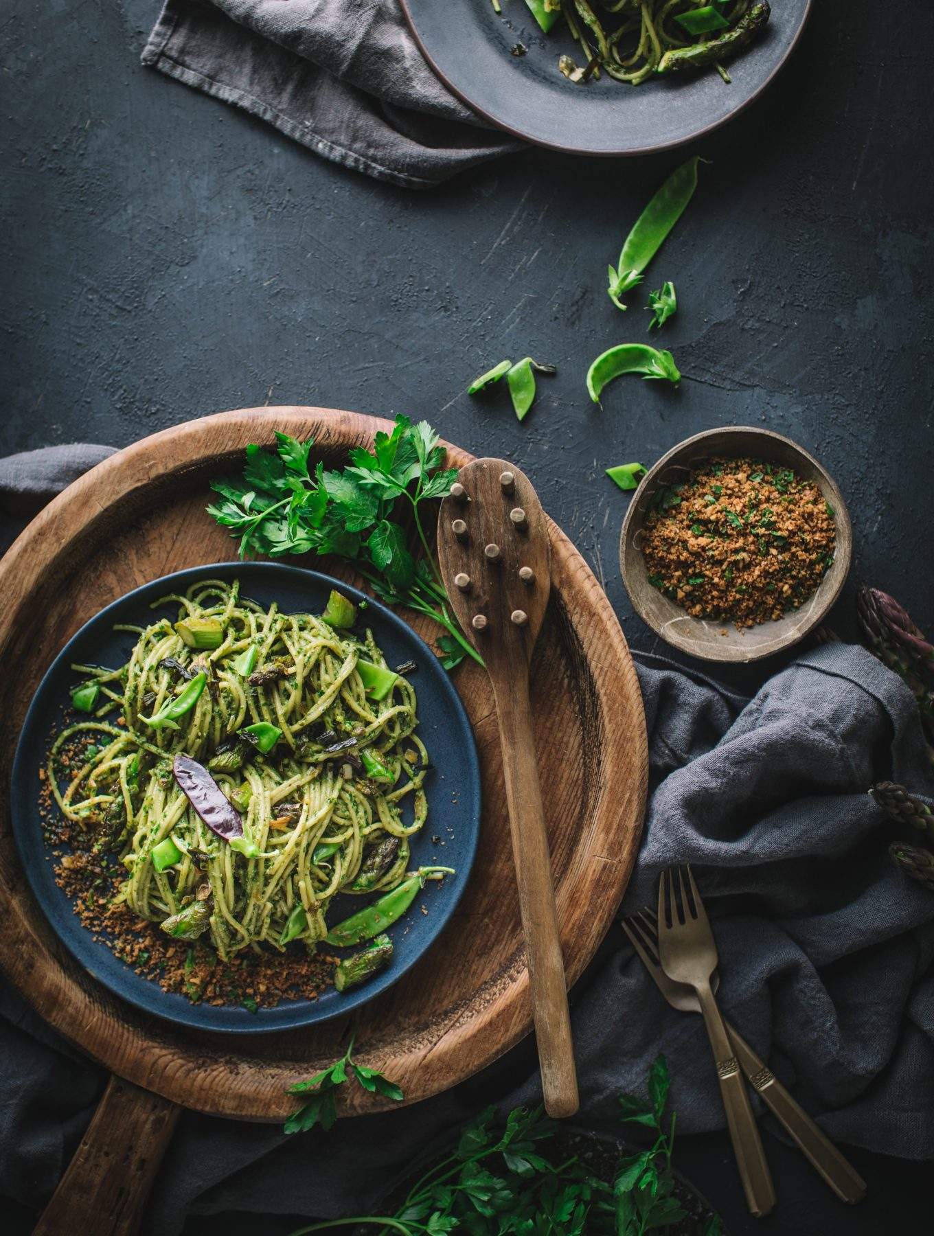 Parsley Pesto Spaghetti with Asparagus and Caramelized Spring Onions and Barilla World Pasta Masters