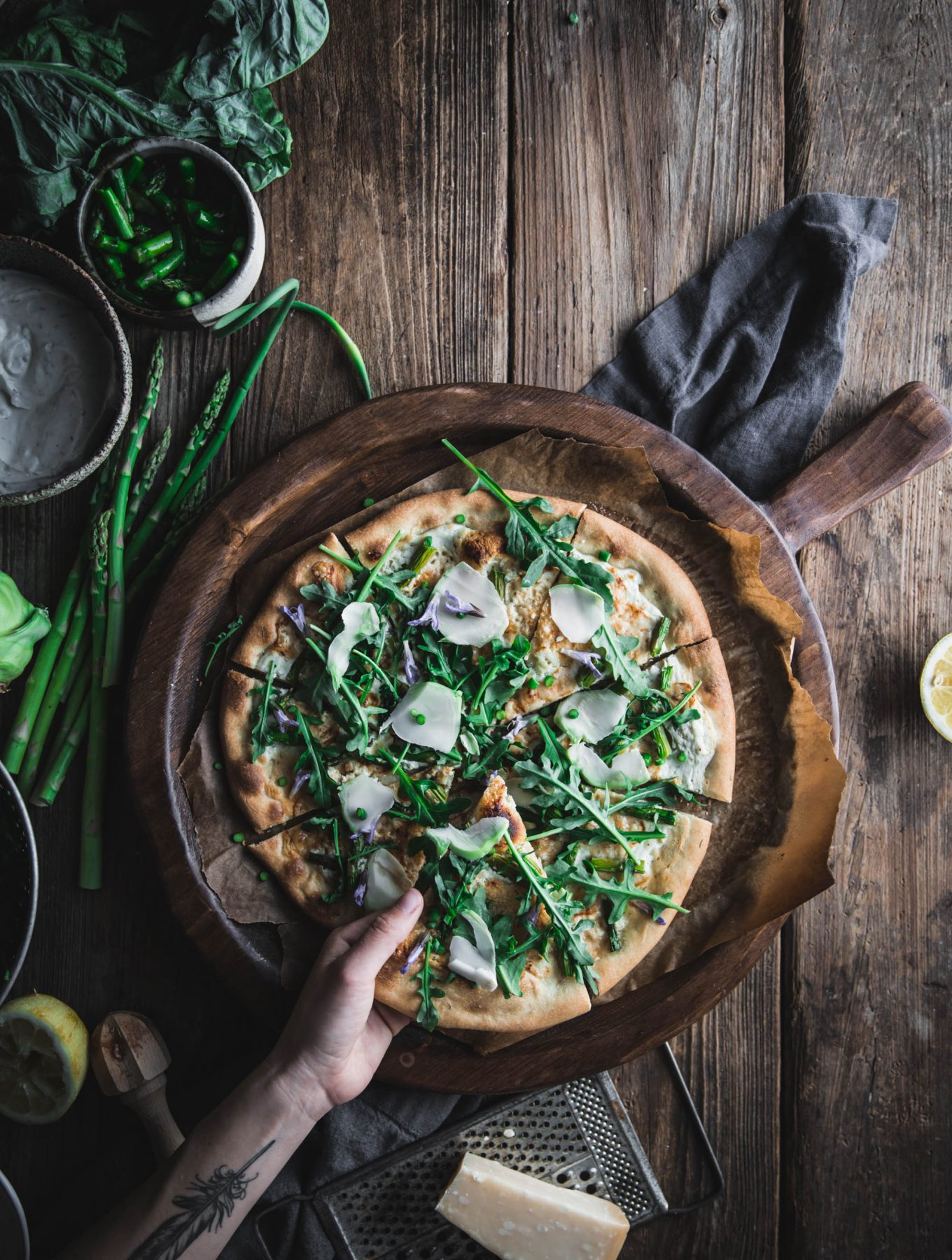 Pizza Bianca with Asparagus and Chevre from First We Eat