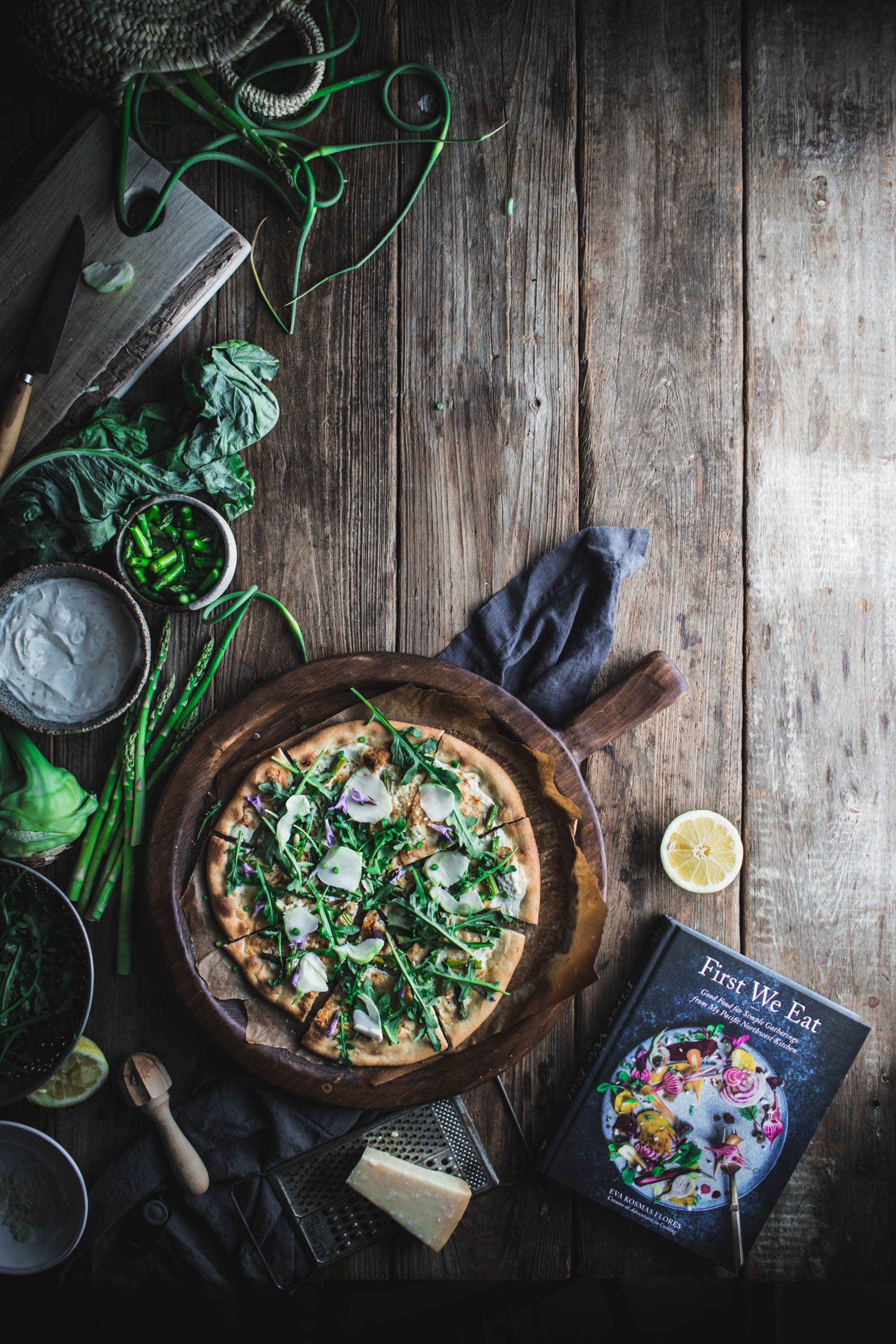 Pizza, Bianca, spring, Asparagus, garlic, white, sauce, ricotta, yogurt, dill, kohlrabi, Chevre, goat's cheese, First We Eat, Cookbook