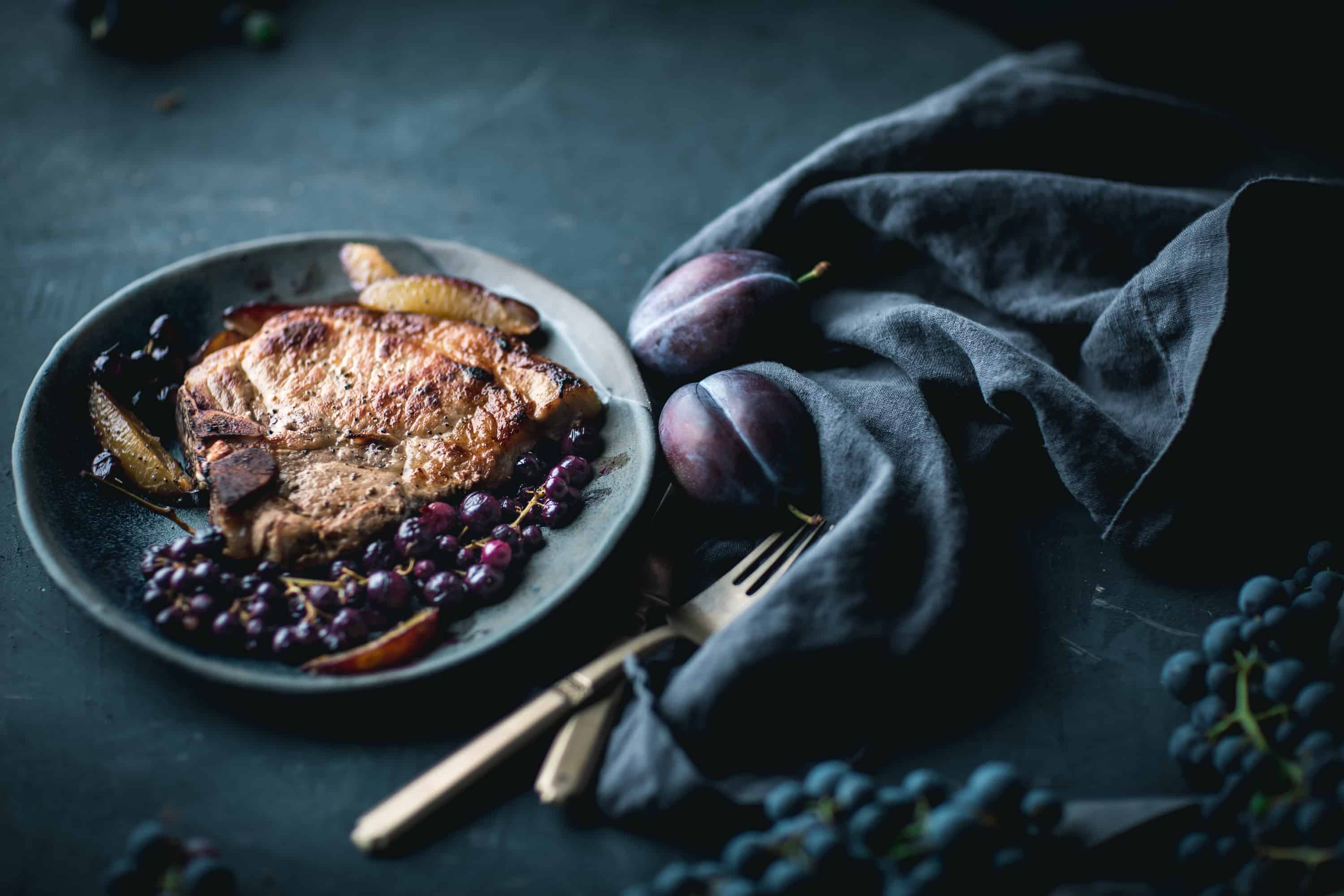 Perfect Brined Bone In Pork Chops with Roasted Grapes and Plums by Eva Kosmas F