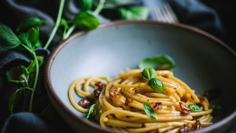 Bucatini Carbonara with Caramelized Onions