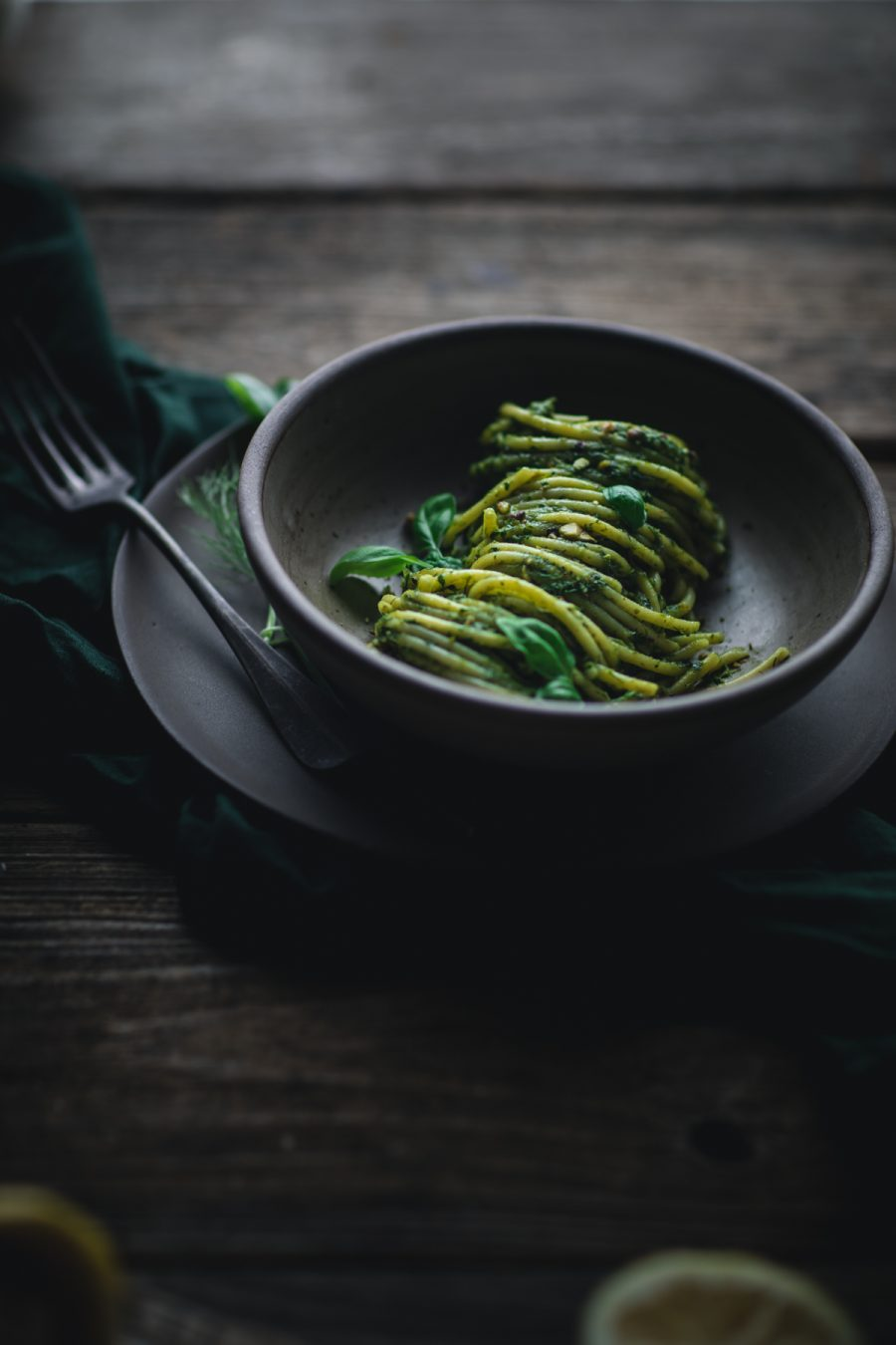 Bucatini Pistachio Pesto by Eva Kosmas Flores