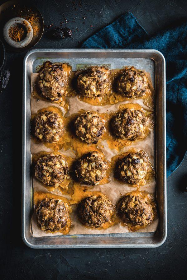 Moroccan Meatballs with Lemon Yogurt Dip and Roasted Broccolini