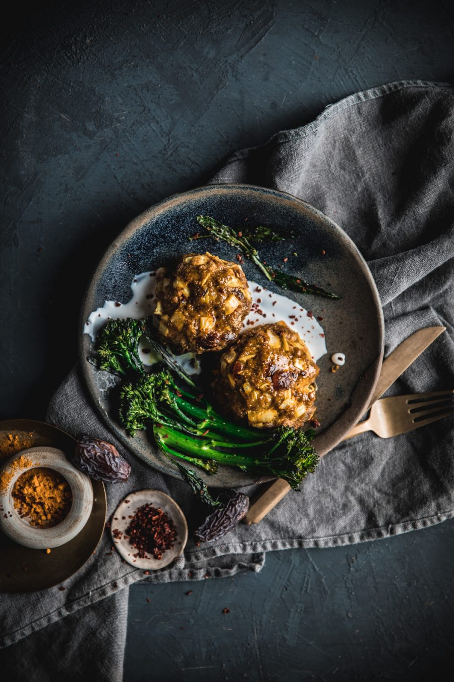 Moroccan Meatballs with Lemon Yogurt Dip and Roasted Broccolini