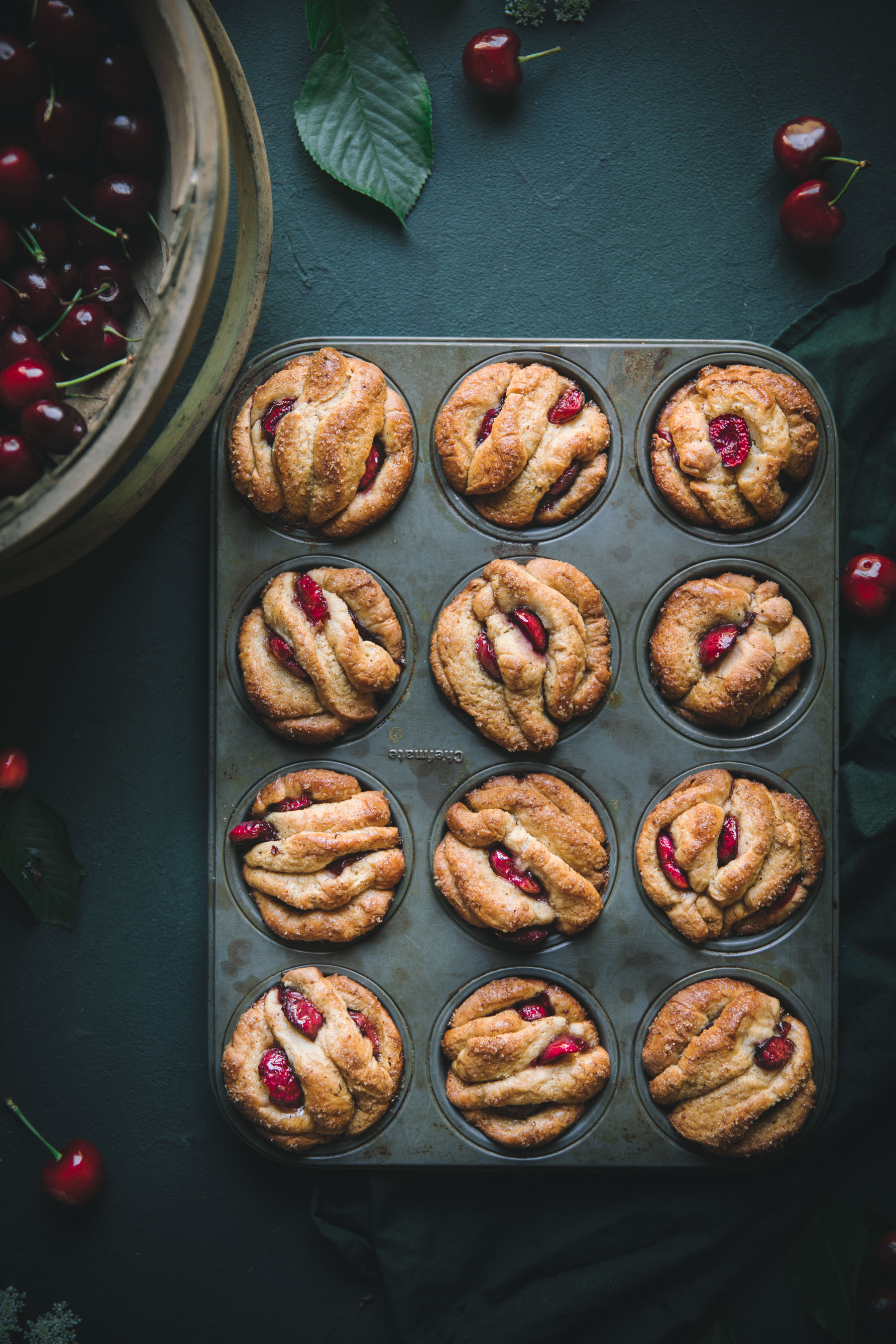 Pull Apart Muffins with Cherries