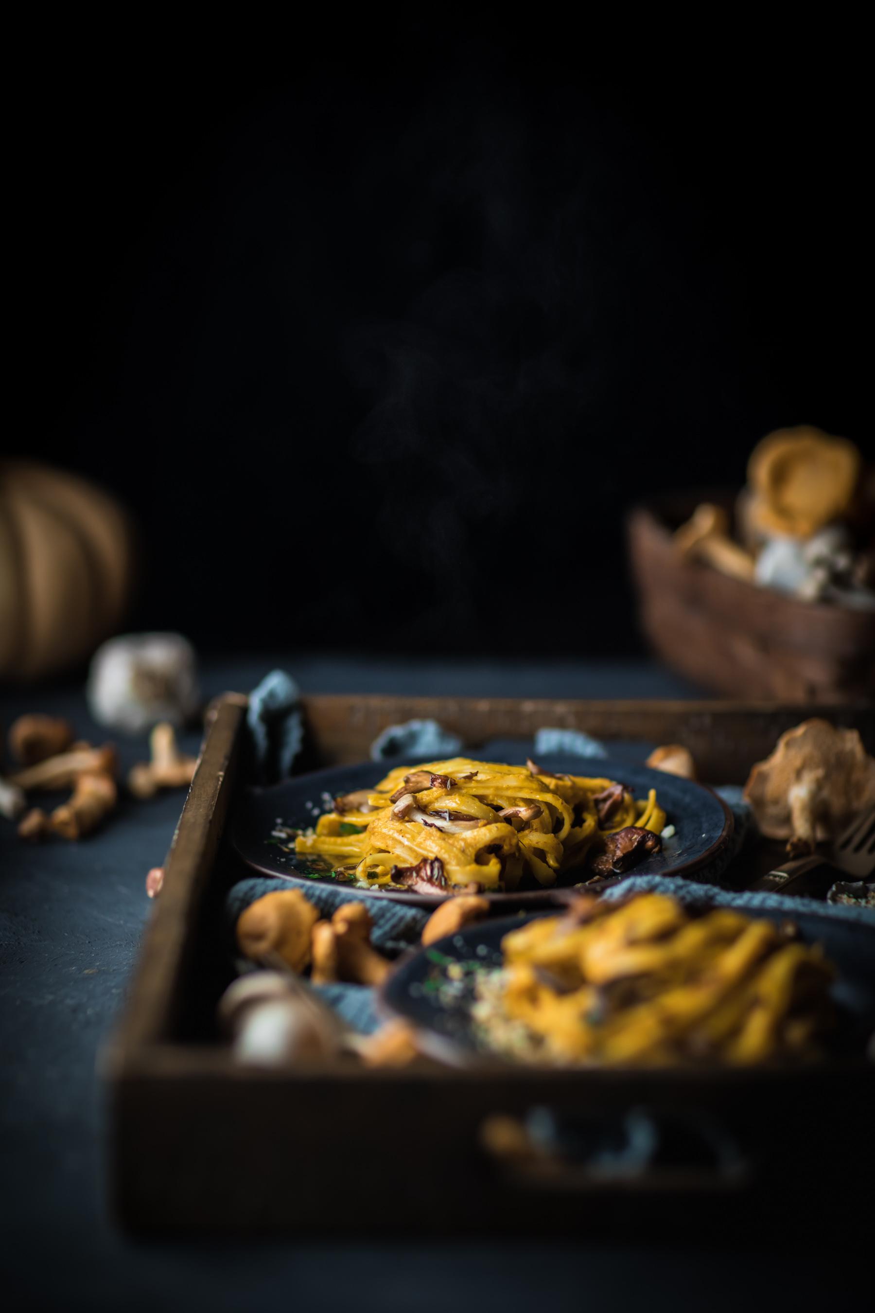Creamy Squash and Hazelnut Fettuccine with Sautéed Mushrooms
