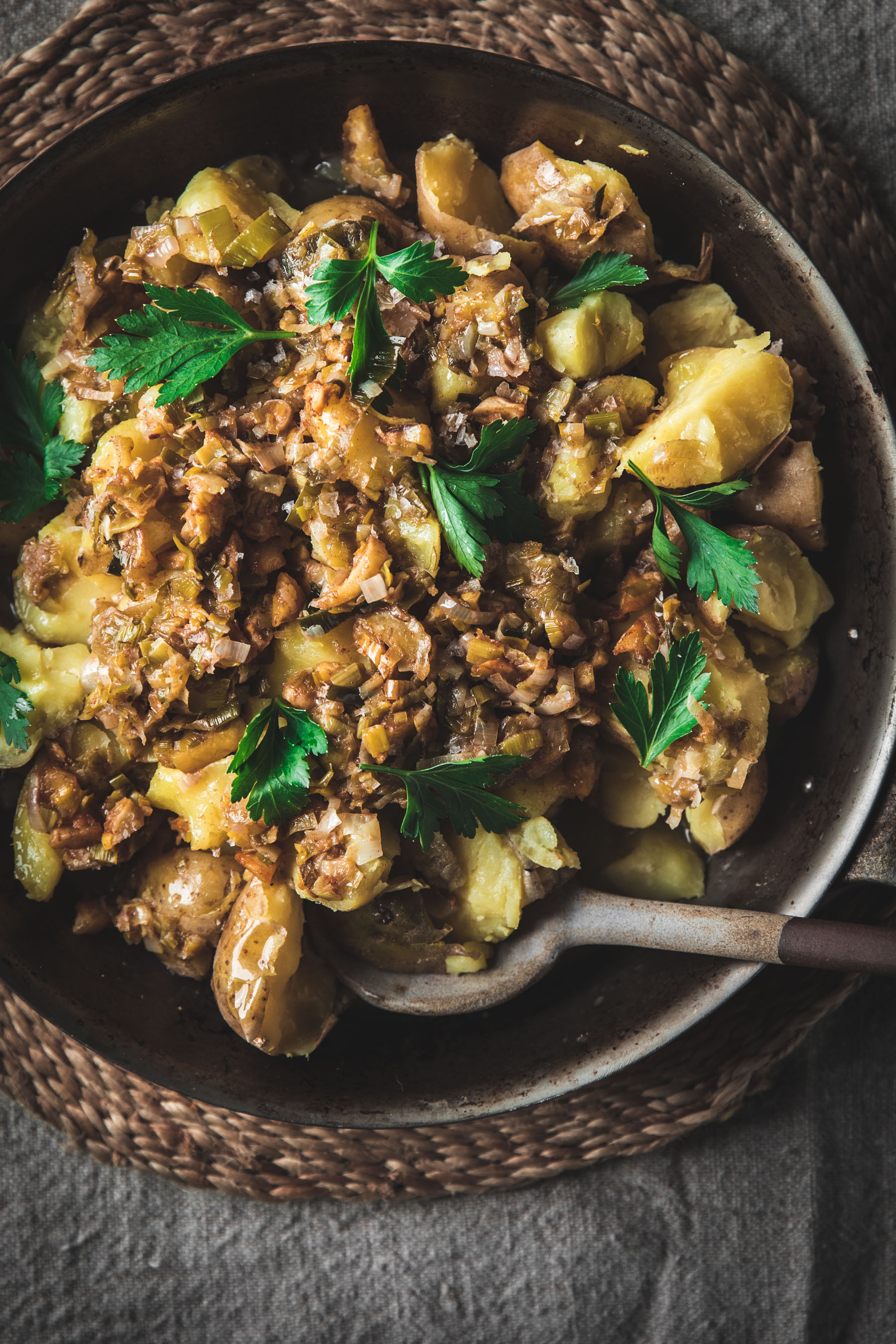 Chestnut Brown Butter Potatoes with Caramelized Leeks