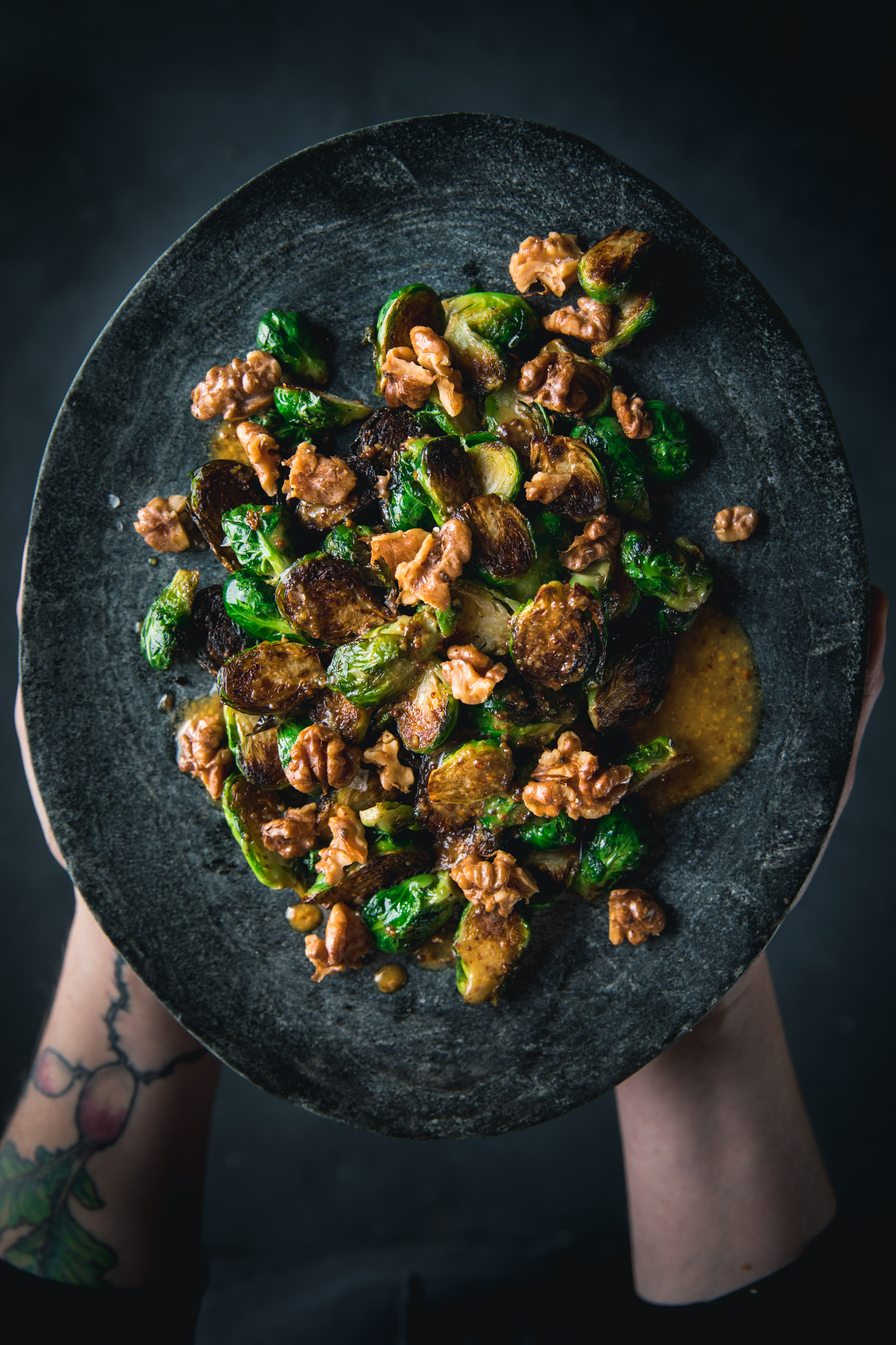 Crispy Brussels Sprouts with Mustard Vinaigrette and Toasted Walnuts