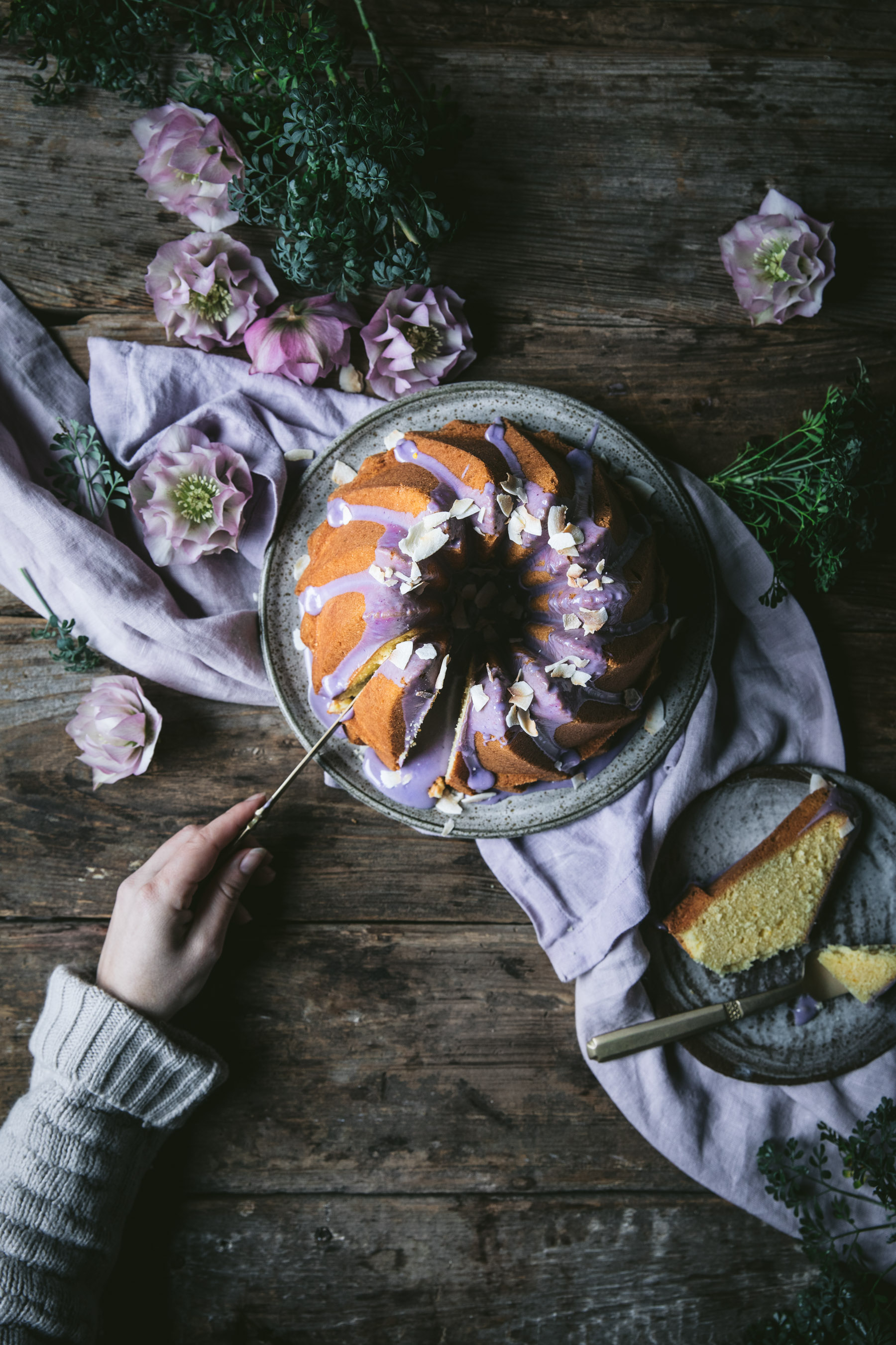 Orange Bundt Cake with Blueberry Glaze