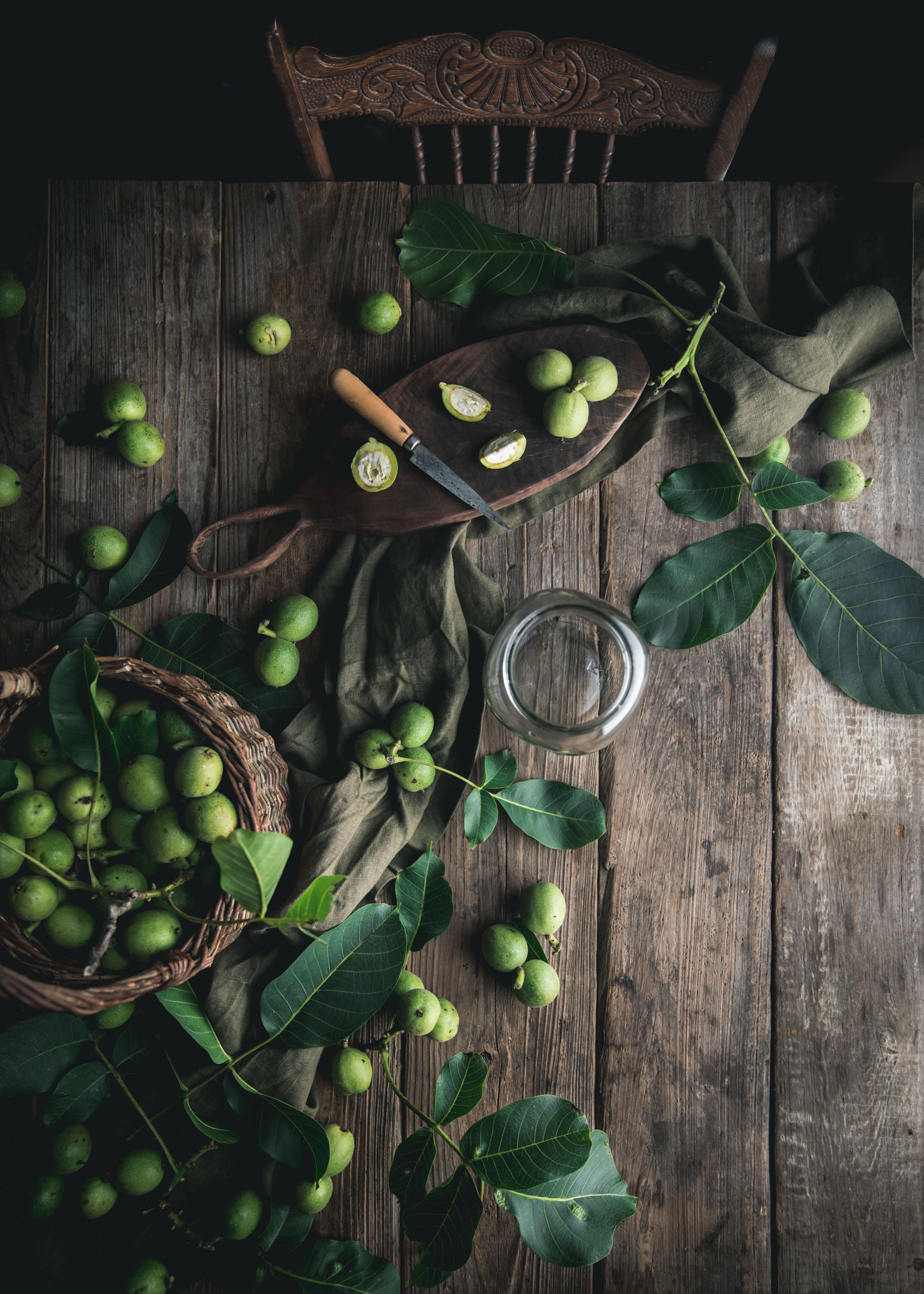 green young walnuts