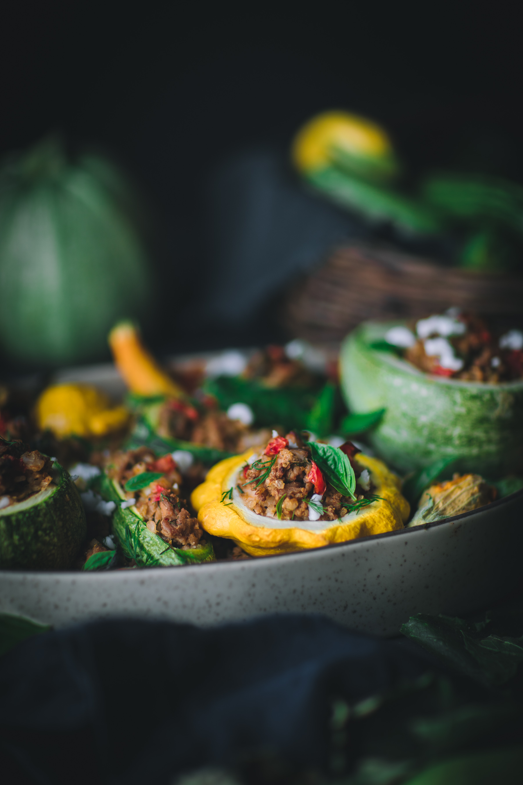 Stuffed Summer Squash with Dill and Feta