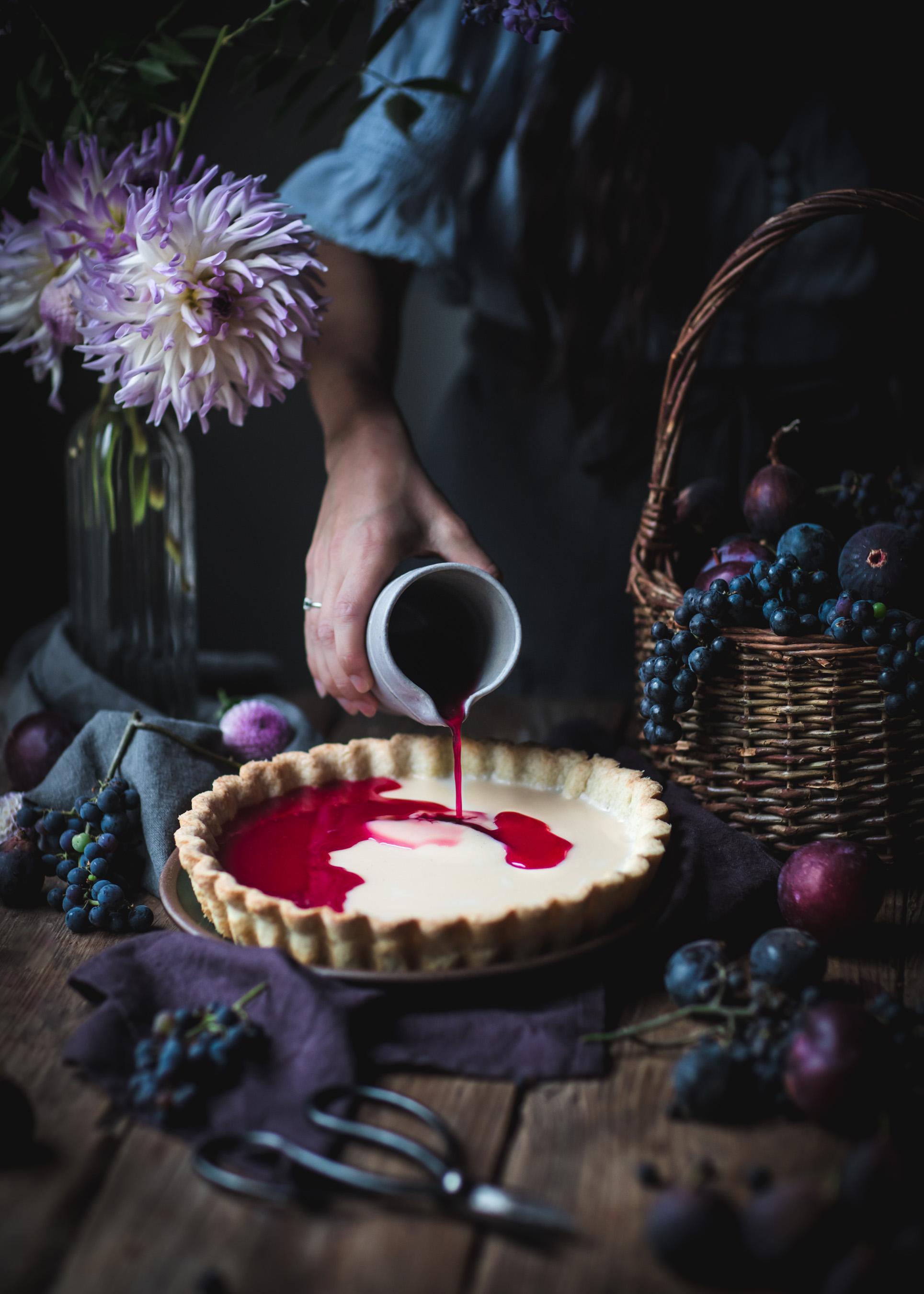 Grape Custard Tart with Fresh Fruit