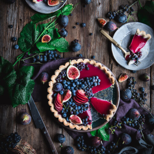 Grape Custard Tart with Fresh Fruit