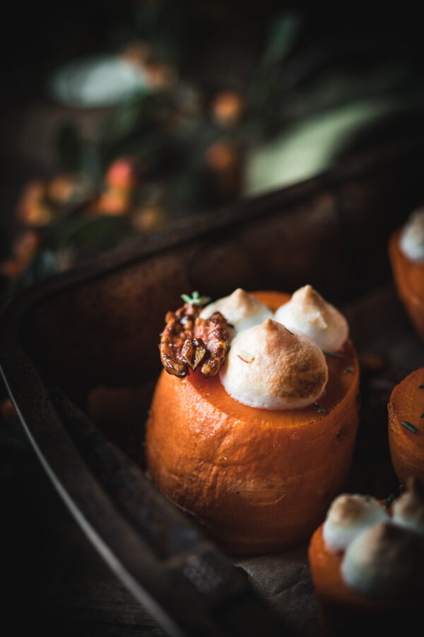 Roasted Sweet Potatoes with Meringue and Candied Pecans