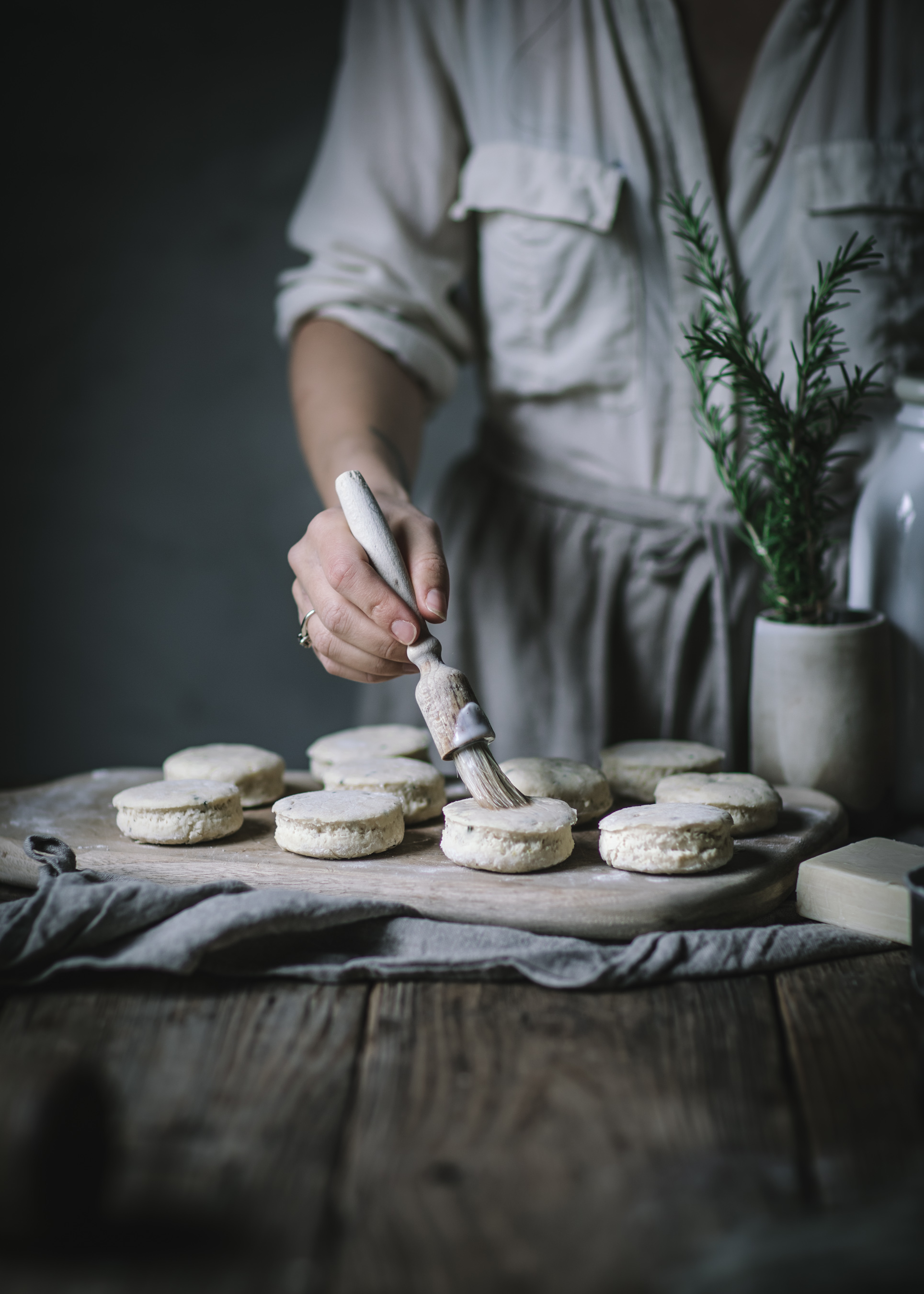 Biscuits being made