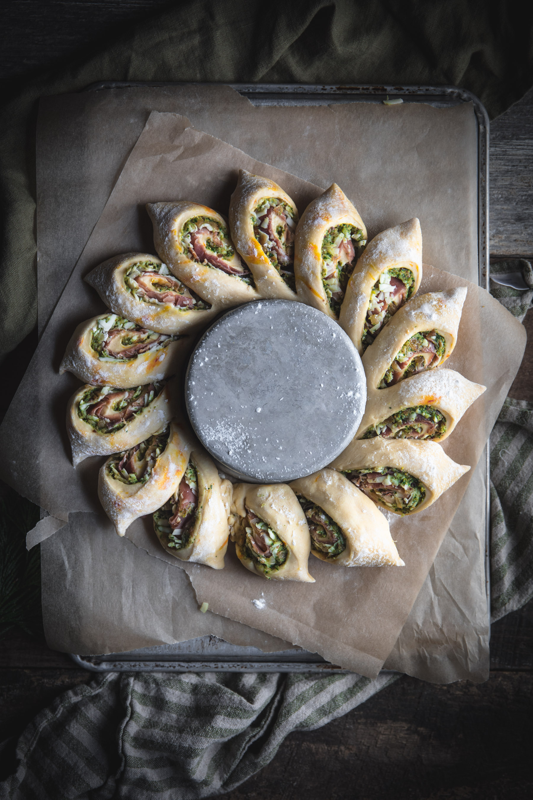 Savory Wreath Bread Proofing