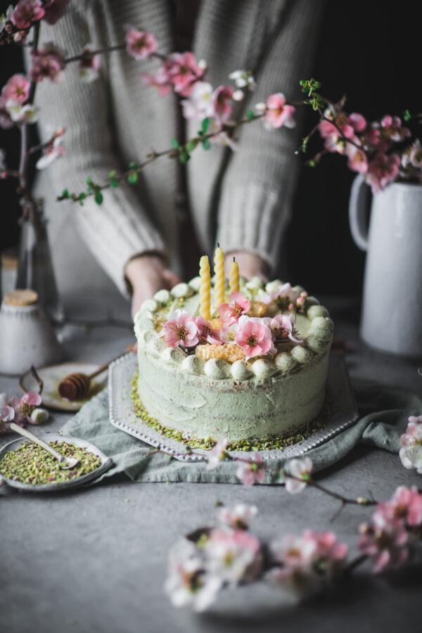 Honey Orange Blossom Cake with Pistachio Buttercream
