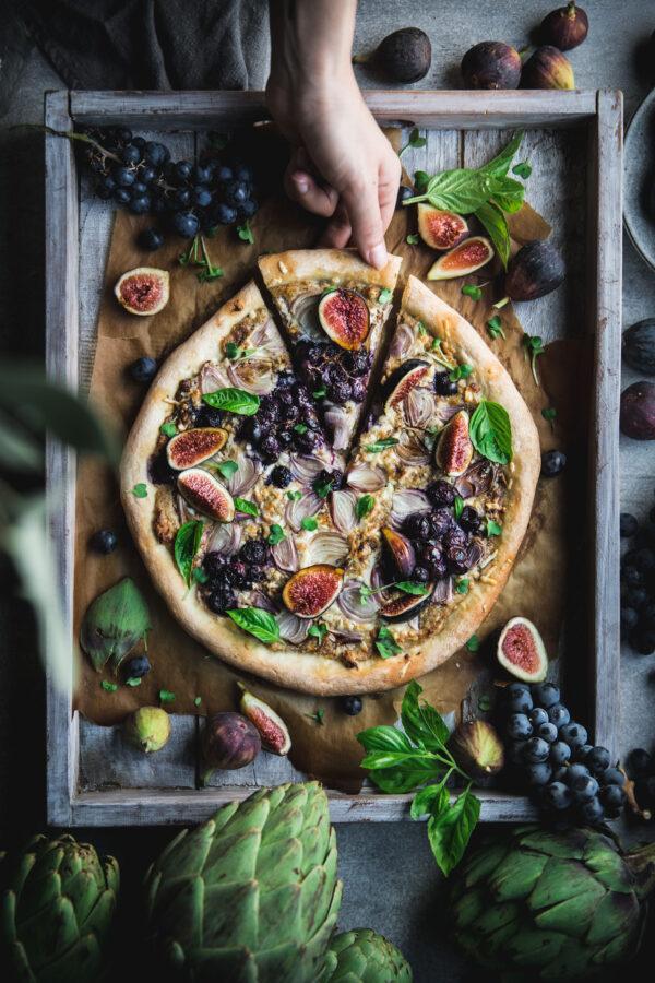 Artichoke Shallot and Fig Pizza